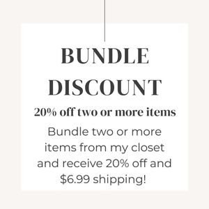 20% off + $6.99 shipping bundles 2 or more items!